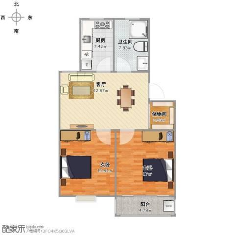 广益佳苑2室1厅1卫1厨83.00㎡户型图