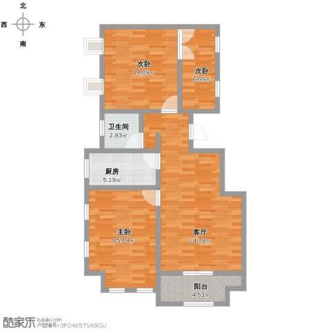 塞纳荣府别墅3室1厅1卫1厨84.00㎡户型图