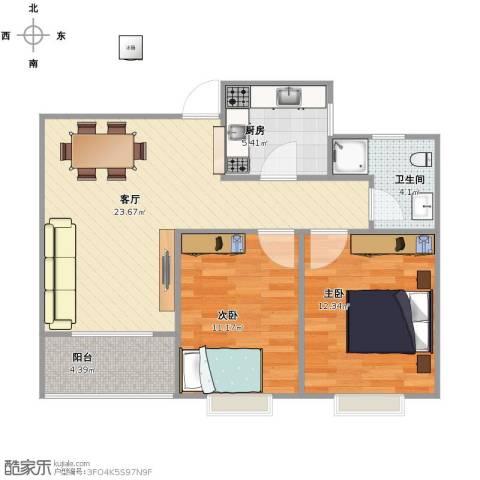 庆丰苑2室1厅1卫1厨66.00㎡户型图