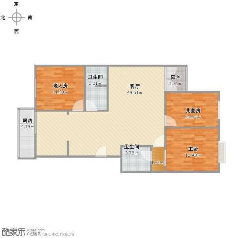 华富家园3室1厅1卫2厨102.00㎡户型图