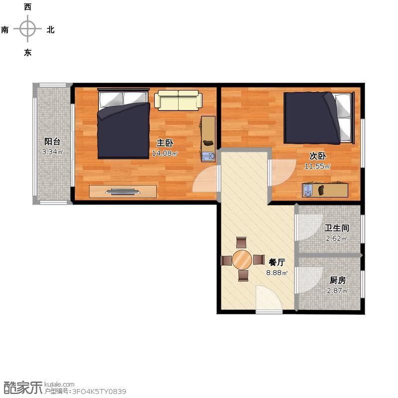 六建大院 南北向 61.3平米 两室一厅一厨一卫