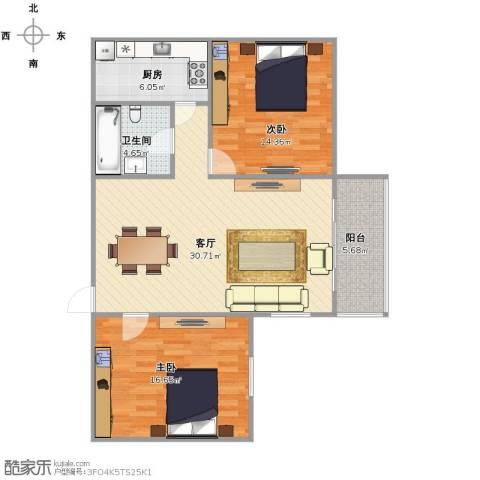 东晖花苑2室1厅1卫1厨83.00㎡户型图