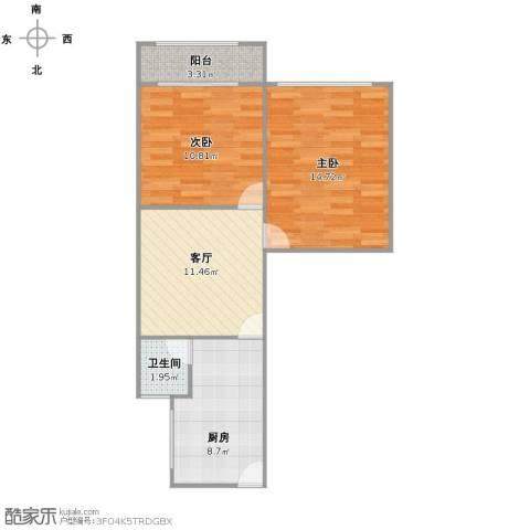 真光十街坊2室1厅1卫1厨54.46㎡户型图