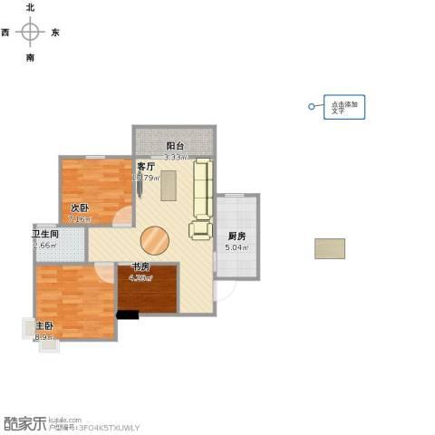 东方新城3室1厅1卫1厨54.00㎡户型图