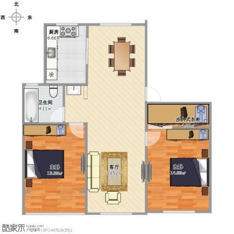 西环一村2室1厅1卫1厨84.00㎡户型图