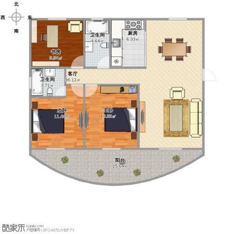 贝越高行馨苑3室1厅1卫2厨110.00㎡户型图