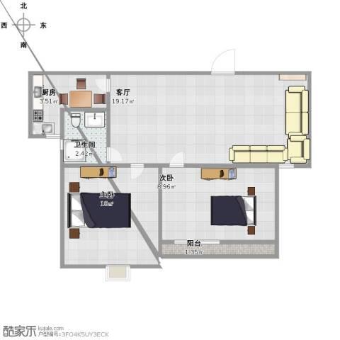 水岸华府2室1厅1卫1厨50.00㎡户型图