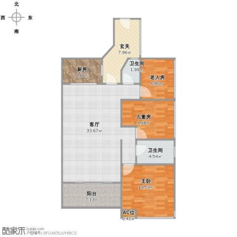 龙湾3室1厅1卫2厨98.00㎡户型图