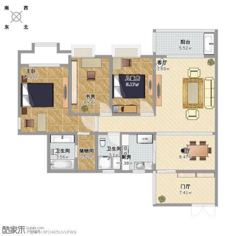 三亚同心家园3室2厅1卫2厨101.00㎡户型图