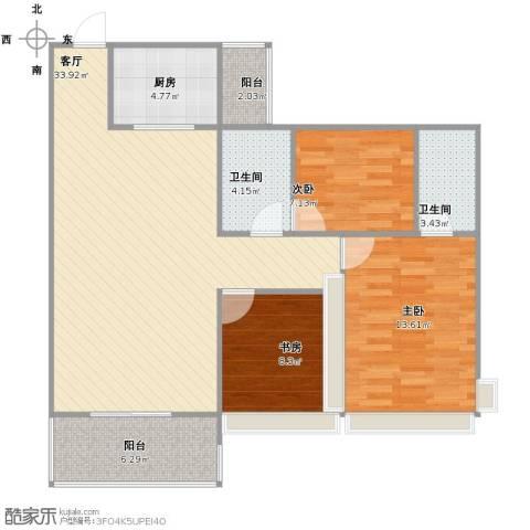 中澳世纪城3室1厅1卫2厨90.00㎡户型图
