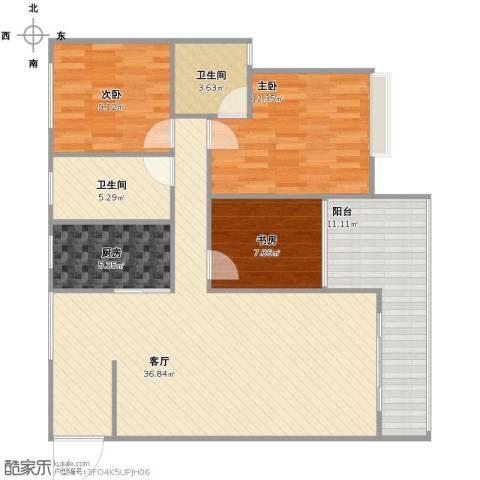 郑常庄308号院3室1厅1卫2厨98.00㎡户型图