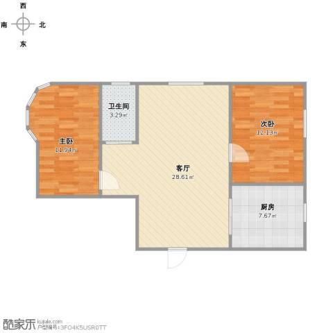 博达雅居2室1厅1卫1厨68.00㎡户型图