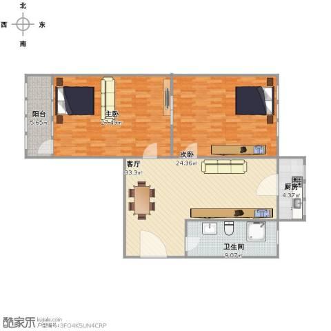 花格小区2室1厅1卫1厨110.00㎡户型图