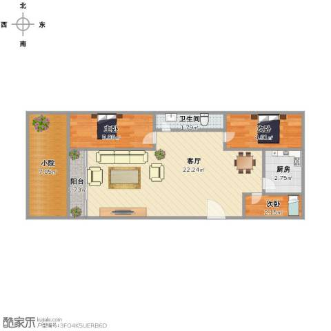 天建天华园3室1厅1卫1厨52.00㎡户型图