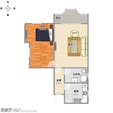 仁恒广场1室1厅1卫1厨59.00㎡户型图