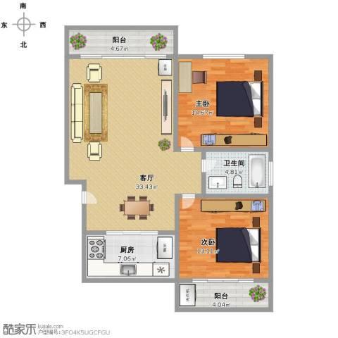 国贸新城2室1厅1卫1厨91.00㎡户型图