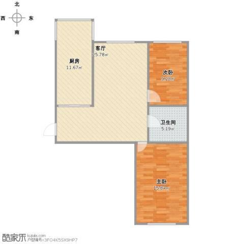 康居新城2室1厅1卫1厨72.00㎡户型图