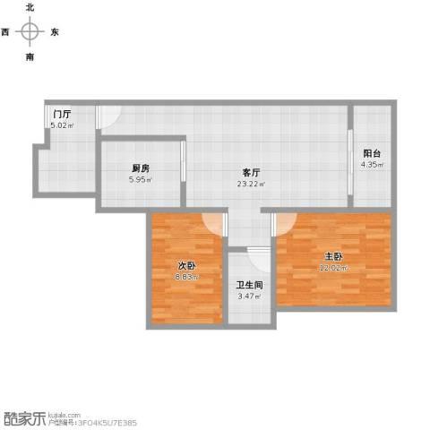万科金域松湖2室1厅1卫1厨71.00㎡户型图