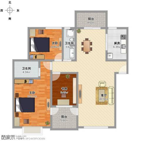 金色池塘3室1厅1卫2厨119.00㎡户型图