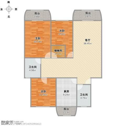 华梅花苑3室1厅1卫2厨115.00㎡户型图
