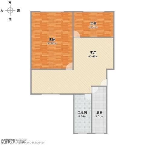 绿园十二村2室1厅1卫1厨110.00㎡户型图