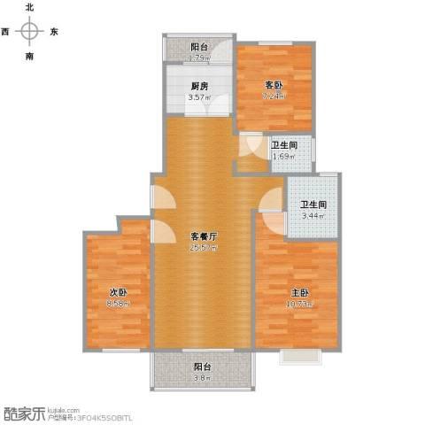 西原泓郡3室1厅1卫2厨73.00㎡户型图