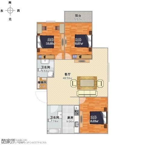 春江花园3室1厅1卫2厨139.00㎡户型图