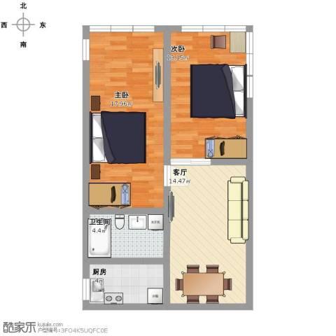 程桥二村2室1厅1卫1厨62.00㎡户型图