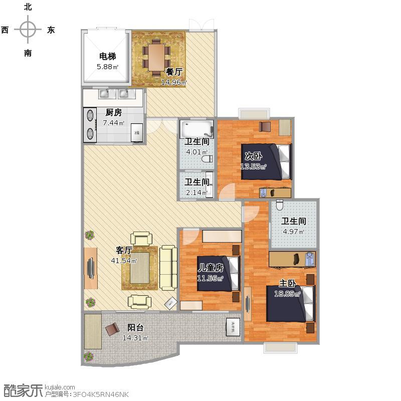 建工新城高层住宅5栋04户型