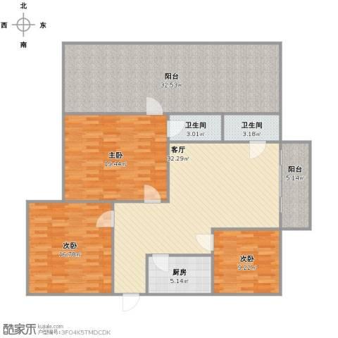 雅居园3室1厅1卫2厨135.00㎡户型图