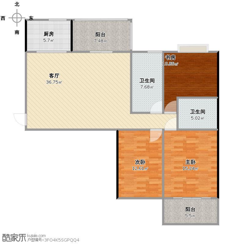 三室两厅两卫一厨128.69方
