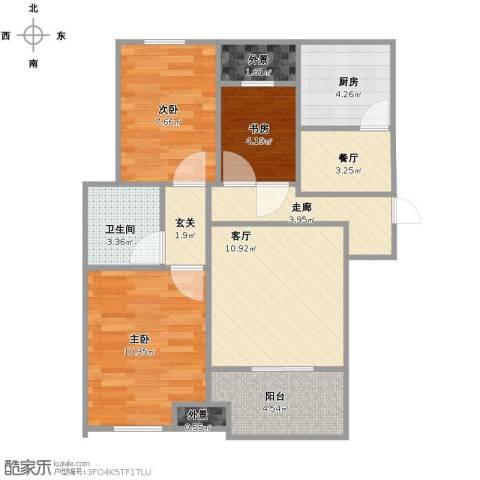 新城香悦半岛3室2厅1卫1厨63.00㎡户型图