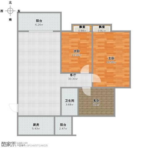 宝嘉花与山3室1厅1卫1厨95.00㎡户型图