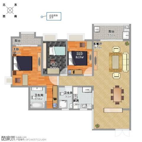 三亚同心家园3室1厅1卫2厨105.00㎡户型图