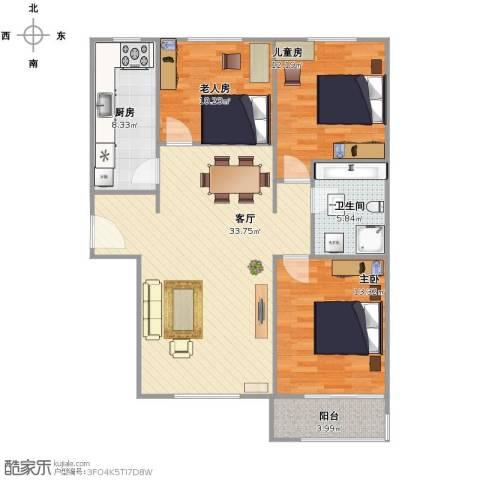 惠腾公寓3室1厅1卫1厨94.00㎡户型图