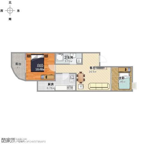 新街口西里三区2室1厅1卫1厨53.00㎡户型图