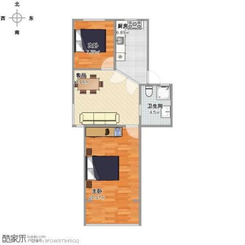 翠春小区2室1厅1卫1厨56.00㎡户型图
