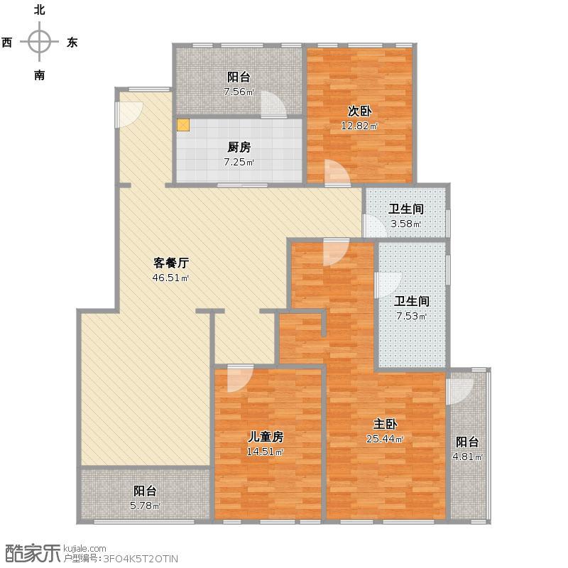 西郊半岛名苑3室2厅2卫1厨改后平面图
