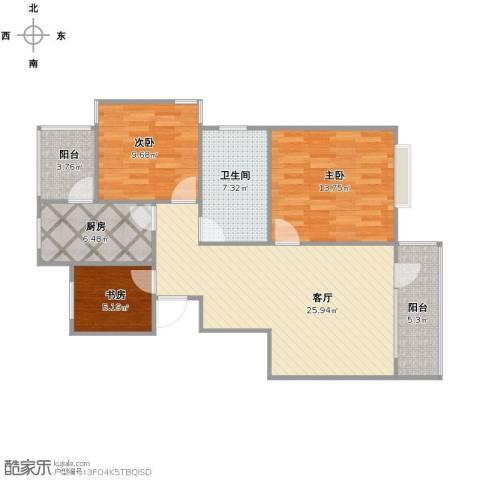 保利维拉家园3室1厅1卫1厨84.00㎡户型图