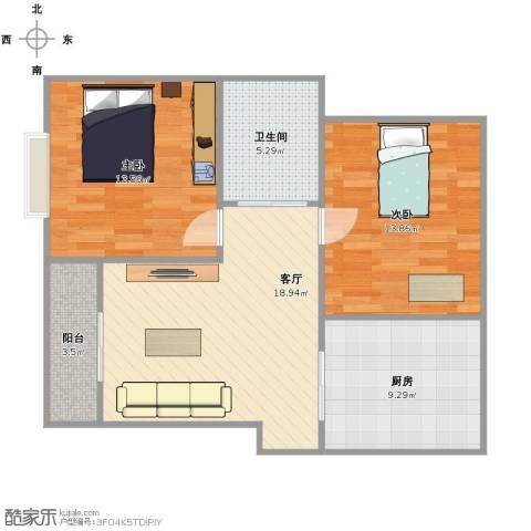 康馨家园2室1厅1卫1厨69.00㎡户型图