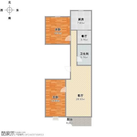 京能家园2室2厅1卫1厨80.00㎡户型图