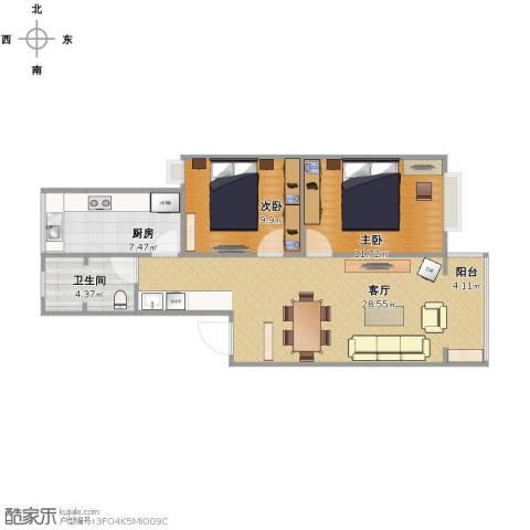 宇秦园2室1厅1卫1厨67.00㎡户型图