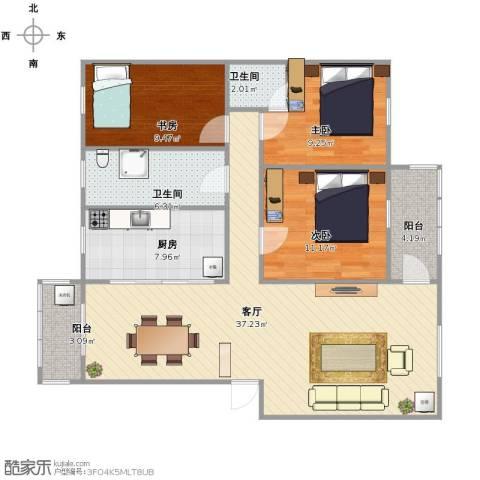 芙蓉公寓3室1厅2卫1厨98.00㎡户型图