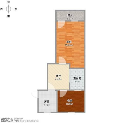 南门二村2室1厅1卫1厨44.00㎡户型图