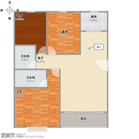金恒基鹿城小区3室1厅2卫1厨105.00㎡户型图