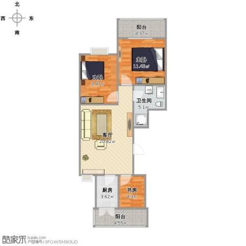 兴华苑小区3室1厅1卫1厨69.00㎡户型图