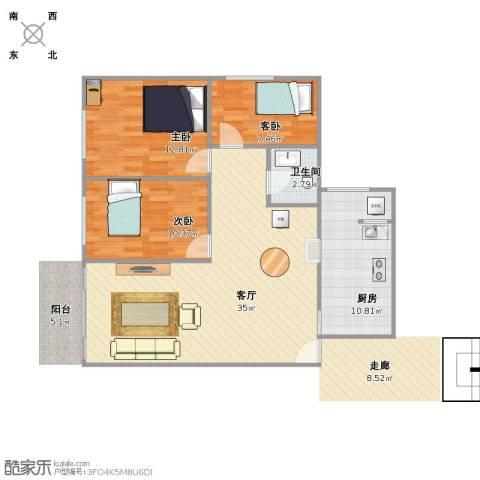 绿茵山庄3室1厅1卫1厨85.00㎡户型图