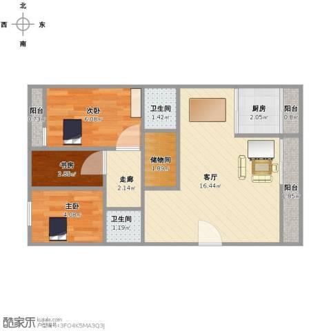 仁和盛庭3室1厅2卫1厨47.00㎡户型图