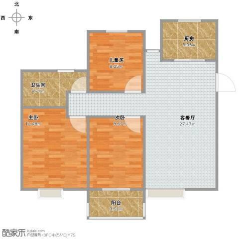 中瑾翰铂府3室1厅1卫1厨77.00㎡户型图
