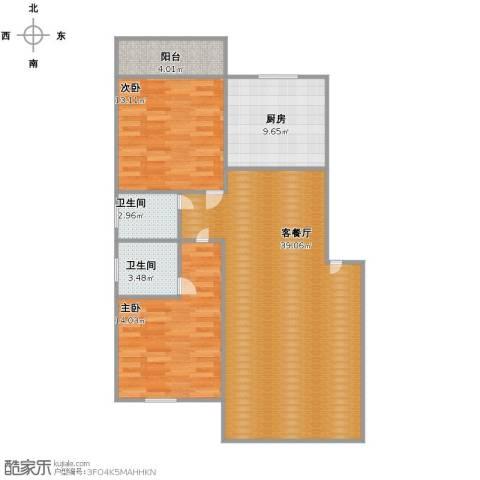 汇禾新城2室1厅2卫1厨92.00㎡户型图